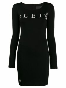 Philipp Plein logo print mini dress - Black