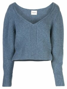 Khaite cropped V-neck jumper - Blue