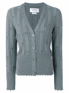 Thom Browne Flower V Neck Cardigan - Grey