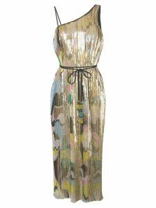 Emilio Pucci Sequin Embroidered Plissé Midi Dress - GOLD