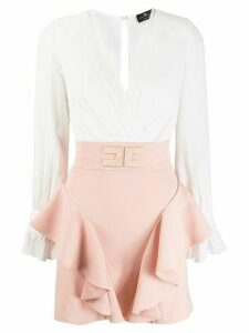 Elisabetta Franchi two tone ruffled dress - Pink