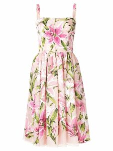 Dolce & Gabbana lily-print flared dress - PINK
