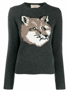 Maison Kitsuné fox knitted sweater - Grey