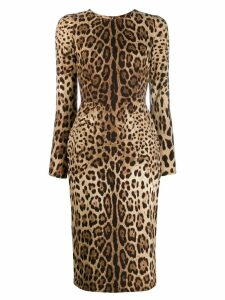 Dolce & Gabbana leopard print bodycon dress - Neutrals