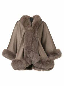 Liska fur-trimmed cape - Grey