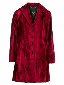 Paltò single-breasted velvet coat - Red