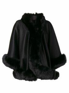 Liska fur-trimmed cape - Black