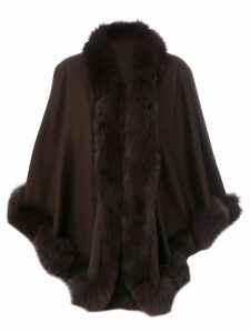 Liska fur trim oversized coat - Brown