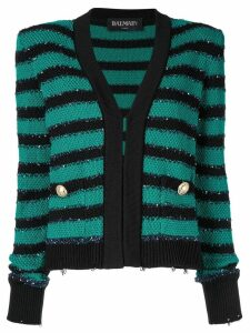 Balmain padded shoulder striped cardigan - Green