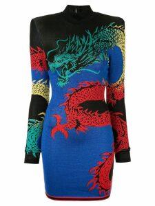 Balmain high-neck dragon print dress - Blue
