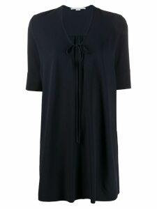 Stella McCartney key-hole neckline short-sleeved dress - Blue