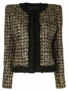 Balmain sequined cropped tweed jacket - Gold