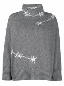 Ermanno Scervino glass-embellished knit sweater - Grey