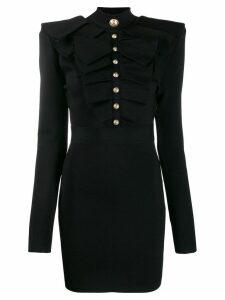 Balmain ruffled chest mini dress - Black