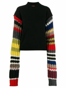 colville striped sleeve sweater - Black