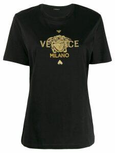 Versace Medusa logo embroidered T-shirt - Black
