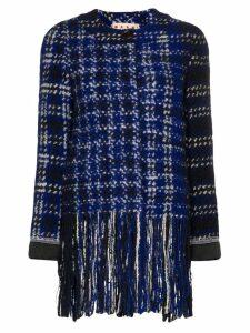 Marni tweed fringed jacket - Blue