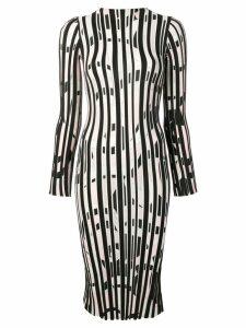 Emilio Pucci Fortuna Intarsia Striped Wool Midi Dress - Black