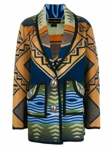 Jessie Western patterned cardi-coat - Blue