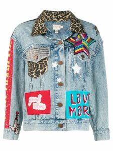 Alice+Olivia embroidered patch denim jacket - Blue