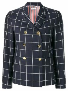 Thom Browne windowpane shadow check twill blazer - Blue