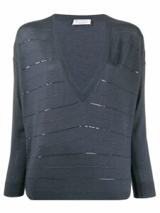 Brunello Cucinelli striped V neck jumper - Blue
