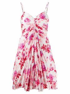 MSGM floral pleated mini dress - White