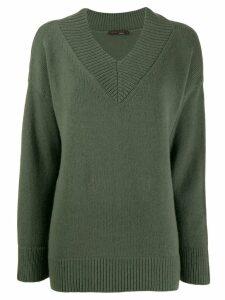 Incentive! Cashmere V-neck knitted jumper - Green