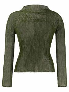 Issey Miyake high neck plissé top - Green