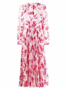 MSGM floral pleated long dress - White