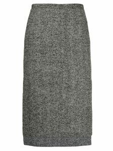 Nº21 Herringbone tweed step-hem skirt - Grey