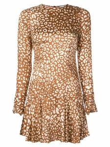 Alexis leopard pattern mini dress - Brown