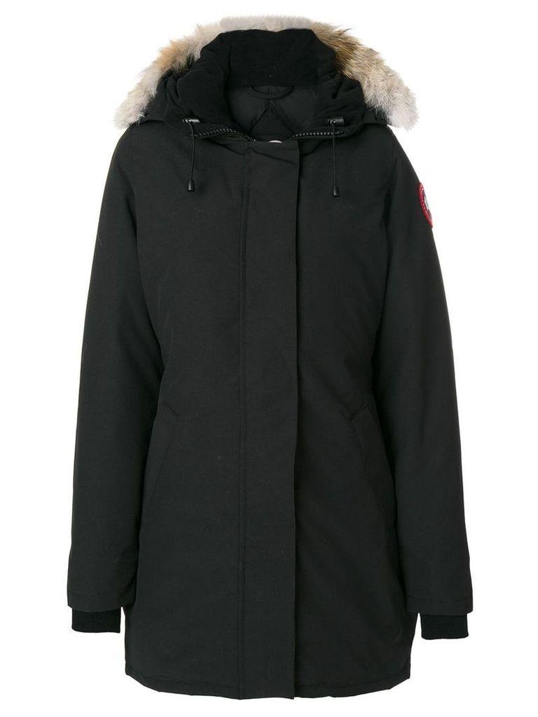 Canada Goose fur trim hooded coat - Black