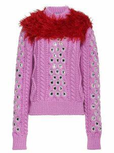 Prada Cordonnet yarn sweater with decorations - Pink