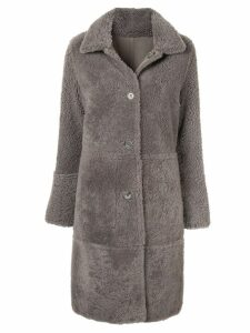 Yves Salomon shearling mid-length coat - Grey