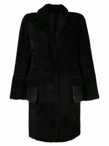 Yves Salomon Meteo shearling mid-length coat - Black