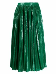 MSGM sequinned plisse full skirt - Green
