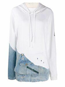 Greg Lauren hoodie with denim patch - White