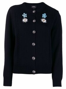 A.P.C. embroidered floral cardigan - Blue