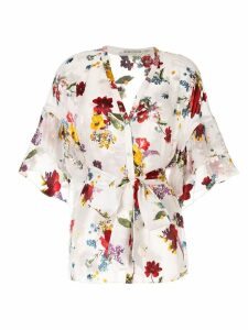 Alice+Olivia floral print sheer blouse - White