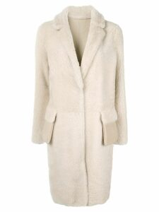 Yves Salomon Meteo shearling mid-length coat - White