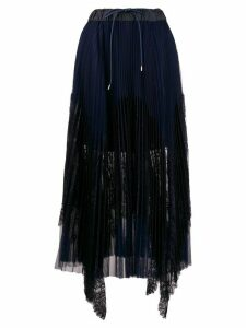 Sacai pleated midi skirt - Blue