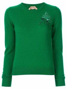 Nº21 embellished Anemone sweater - Green