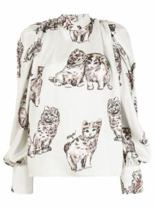 MSGM cat print blouse - Neutrals