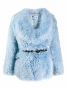 Prada belted goat fur coat - Blue