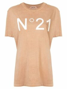 Nº21 logo print T-shirt - Brown
