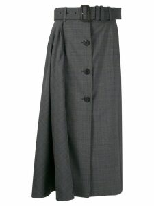 Prada high-waist checked skirt - Grey