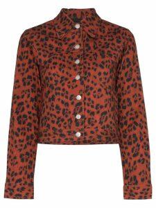Miaou Lex leopard print denim jacket - Red