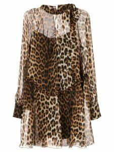 Nº21 leopard print shirt dress - Brown