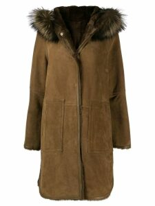 Yves Salomon trimmed hood textured coat - Brown